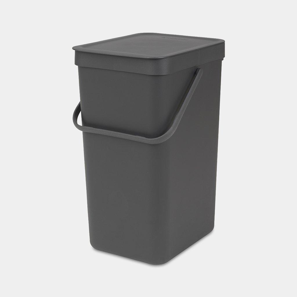 Zwarte prullenbak afval scheiden 16 liter klein