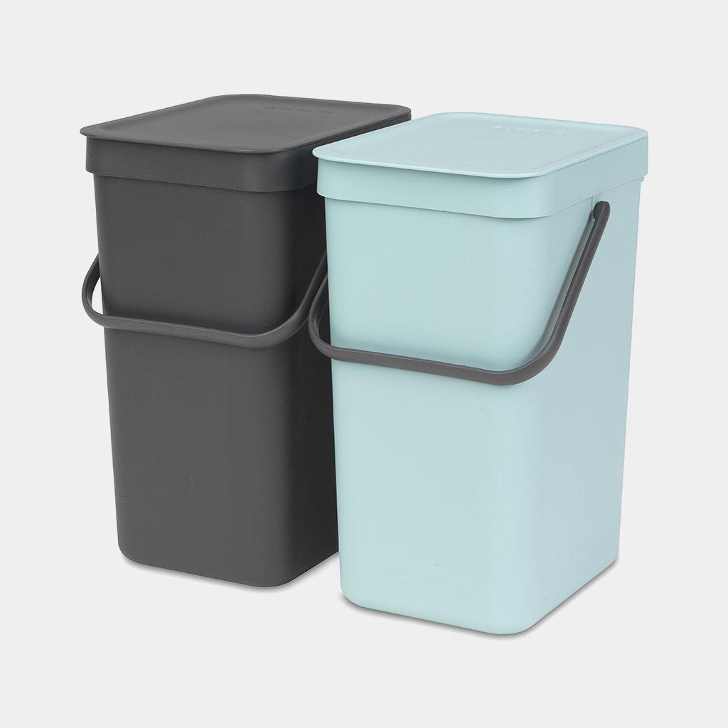 Sort & Go Built-in Bin 2 x 12 litre - Mint & Grey