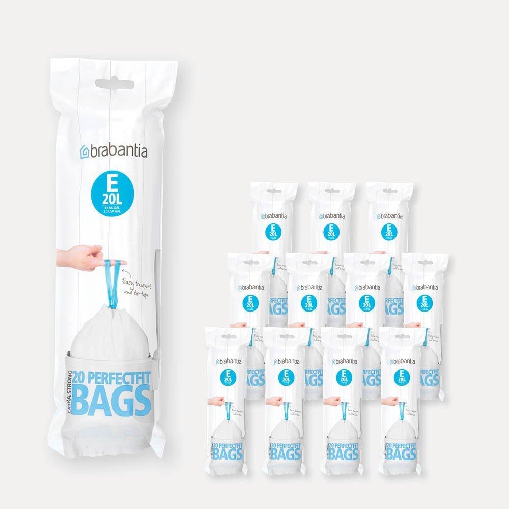 Brabantia Pedaalemmer 20l.Perfectfit Bags Code E 20 Litre 12 Rolls Of 20 Bags