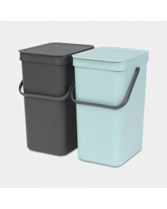 Sort & Go inbouwemmer 2 x 12 liter - Mint & Grey