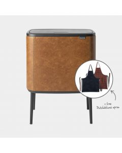 Bo Touch Bin 11 + 23 litre, + free Dutchdeluxes apron, worth £69,00 - Cognac Vegan Leather