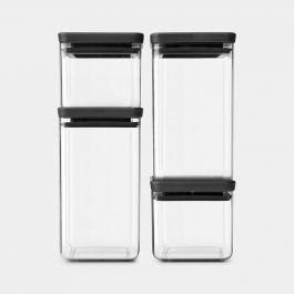 Vorratsdose eckig 4er Set, 2 x 0.7 & 2 x 1.6 Liter TASTY+ Dark Grey