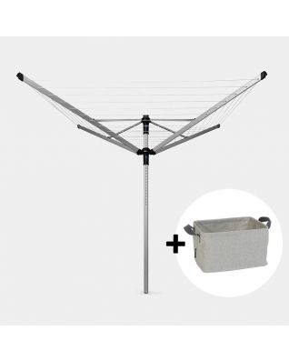 Rotary Dryer Lift-O-Matic Advance 60 metre, with Concrete Tube, Cover & Peg Bag, Ø 50 mm + Foldable Laundry Basket, 35 litre