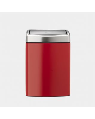 Touch Bin, 10 litros, rectangular, cubo interior de plástico - Passion Red