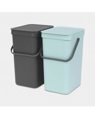 Sort & Go Built-in Bin 2 x 12 litre - Mint & Grey
