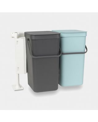 Sort & Go inbouwemmer 2 x 16 liter - Mint & Grey