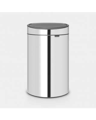 Touch Bin New 40 litre - Brilliant Steel