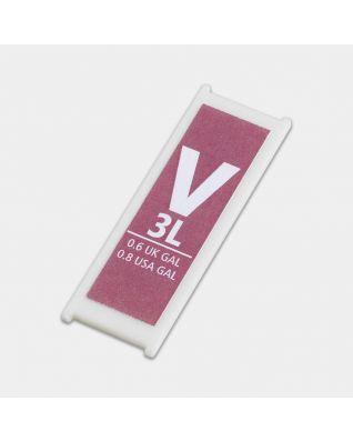 Etiquette litrage plastique, code V, 3 litres - Pink