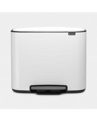 Bo Pedal Bin 3 x 11 litre - White