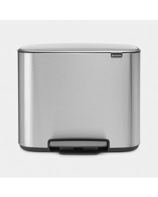 Bo Pedal Bin 3 x 11 litre - Matt Steel Fingerprint Proof