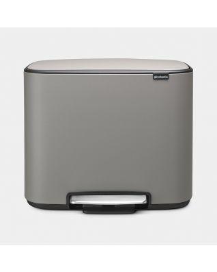 Poubelle à pédale Bo 3 x 11 litres - Mineral Concrete Grey
