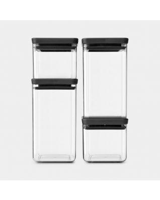 Vierkante voorraadbussen Set van 4, 2 x 0,7 & 2 x 1,6 liter -TASTY+ - Dark Grey