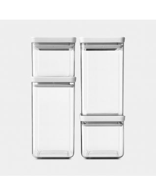 Square Canisters Set of 4, 2 x 0.7 & 2 x 1.6 litre -TASTY+ - Light Grey