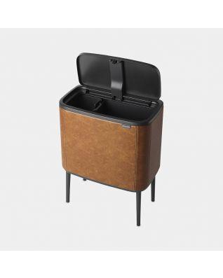 Bo Touch Bin 11 + 23 litre - Cognac Vegan Leather