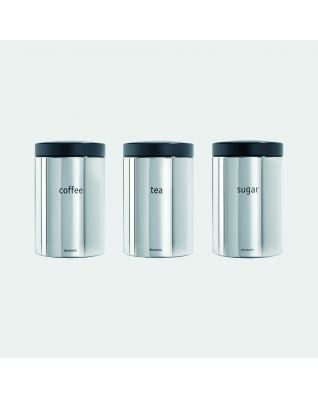 Canisters Set of 3, 1.4 litre - Brilliant Steel