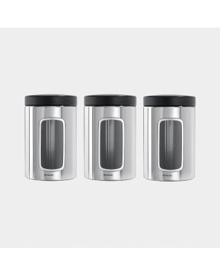Window Canisters Set of 3, 1.4 litre - Brilliant Steel