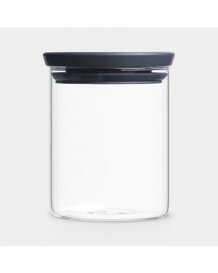 Stackable Jar 0.6 litre, Glass - Dark Grey