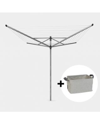 Rotary Dryer Lift-O-Matic  50 metre, with Ground Spike & Cover, Ø 45 mm + Foldable Laundry Basket, 35 litre