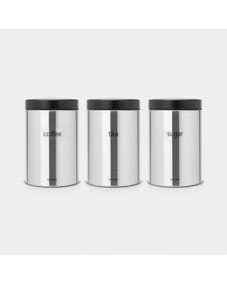 Voorraadbussen Set van 3, 1.4 liter - Matt Steel Fingerprint Proof