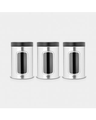 Window Canisters Set of 3, 1.4 litre - Matt Steel Fingerprint Proof