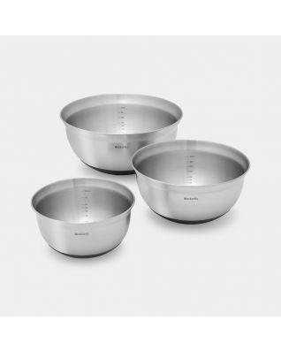 Mixing Bowl Set 1, 1.6 & 3 litre - Matt Steel / Black