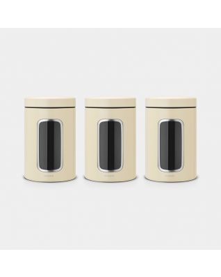 Window Canisters Set of 3, 1.4 litre - Almond