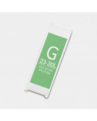 Etiqueta de plástico de capacidad, Código G, 23-30 litros - Green