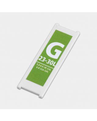 Plastic Capacity Tag, Code 2xG, 23-30 litre - Green