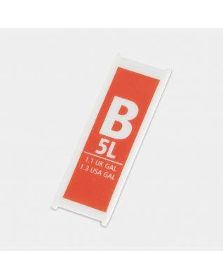 Kapazitätsschild aus Kunststoff, Code B, 5 Liter - Orange
