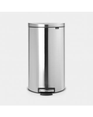 Pedal Bin FlatBack+ 30 litre - Matt Steel Fingerprint Proof