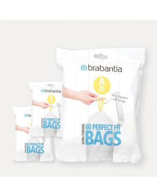 PerfectFit Bags Code A (3 litre), 3 Dispenser Packs, 180 Bags