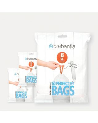 PerfectFit Bags Code B (5 litre), 3 Dispenser Packs, 180 Bags