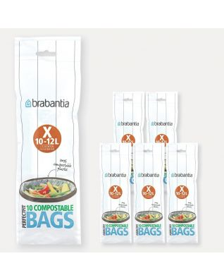 Compostable PerfectFit Bags For Bo, Code X (10-12 liter), 6 rolls of 10 bags