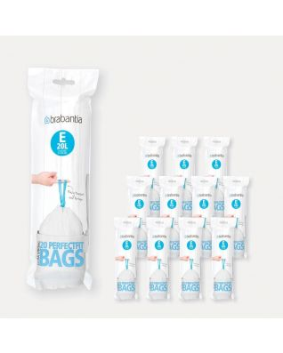 Sacs PerfectFit Code E (20 litres), 12 rouleaux de 20 sacs