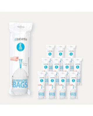 Bolsas PerfectFit Código E (20 litros), 12 rollos de 20 bolsas