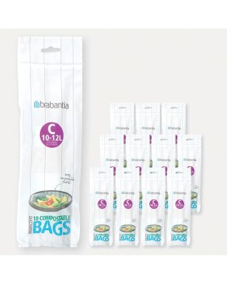 Compostable PerfectFit Bags Code C (10-12 litre), 12 rolls of 10 bags