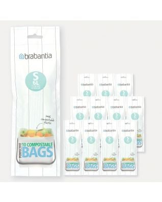Compostable PerfectFit Bags Code S (6 litre), 12 rolls of 10 bags