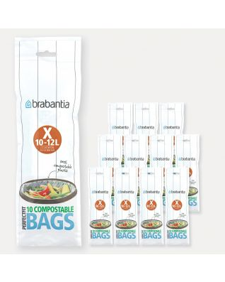Compostable PerfectFit Bags For Bo, Code X (10-12 litre), 12 rolls of 10 bags