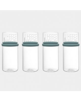 Voorraadbus met maatbeker Set van 4, 1 liter, Glas - Mint