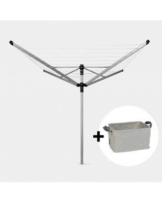 Rotary Dryer Lift-O-Matic Advance 60 metre, with Concrete Tube, Cover & Peg Bag, Ø 50 mm + Foldable Laundry Basket, 35 litre