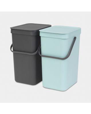 Sort & Go Einbaumülleimer 2 x 12 Liter - Mint & Grey