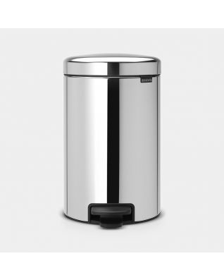 Pedal Bin newIcon 12 litre, metal inner bucket - Brilliant Steel
