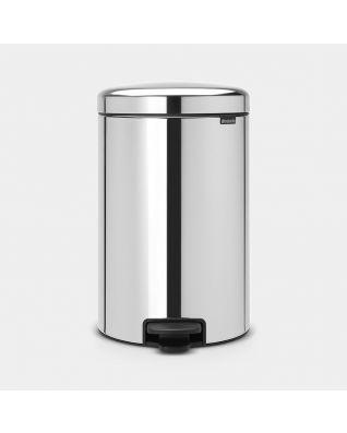Pedal Bin newIcon 20 litre, metal inner bucket - Brilliant Steel