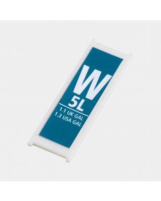 Etiquette litrage plastique, code W, 5 litres - Blue