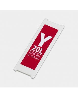 Etiqueta de plástico de capacidad, código Y, 20 litros - Red