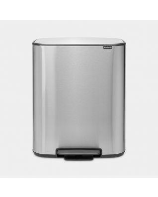 Bo Pedal Bin 2 x 30 litre - Matt Steel Fingerprint Proof