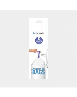 PerfectFit Bin Bags Code D (15-20 litre), Roll with 20 Bags