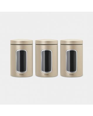Window Canisters Set of 3, 1.4 litre - Champagne