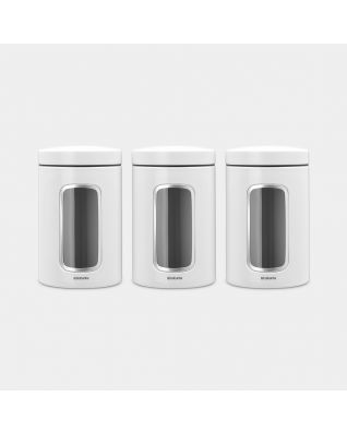 Window Canisters Set of 3, 1.4 litre - White