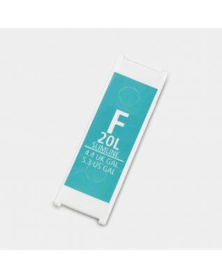 Etiqueta de plástico de capacidad, Código F, 20 litros - Arctic Blue